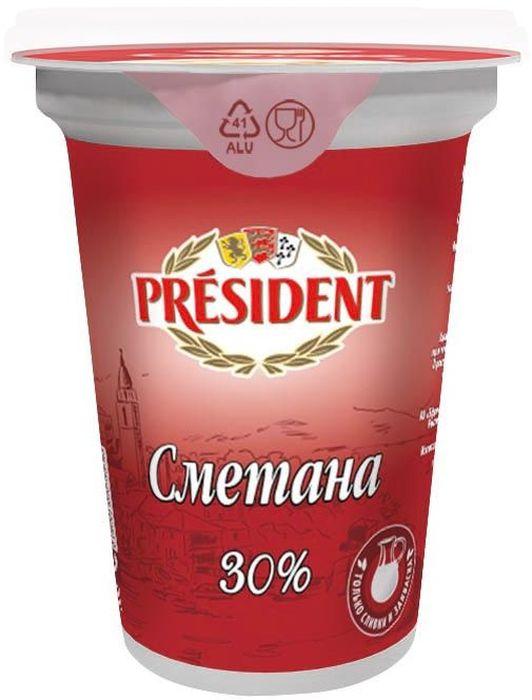 President Сметана 30%, 350 г725545Густая нежная сметана President с приятной кислинкой и кремовой текстурой производится в России из самых высококачественных ингредиентов. Простой рецепт: сливки + закваска.