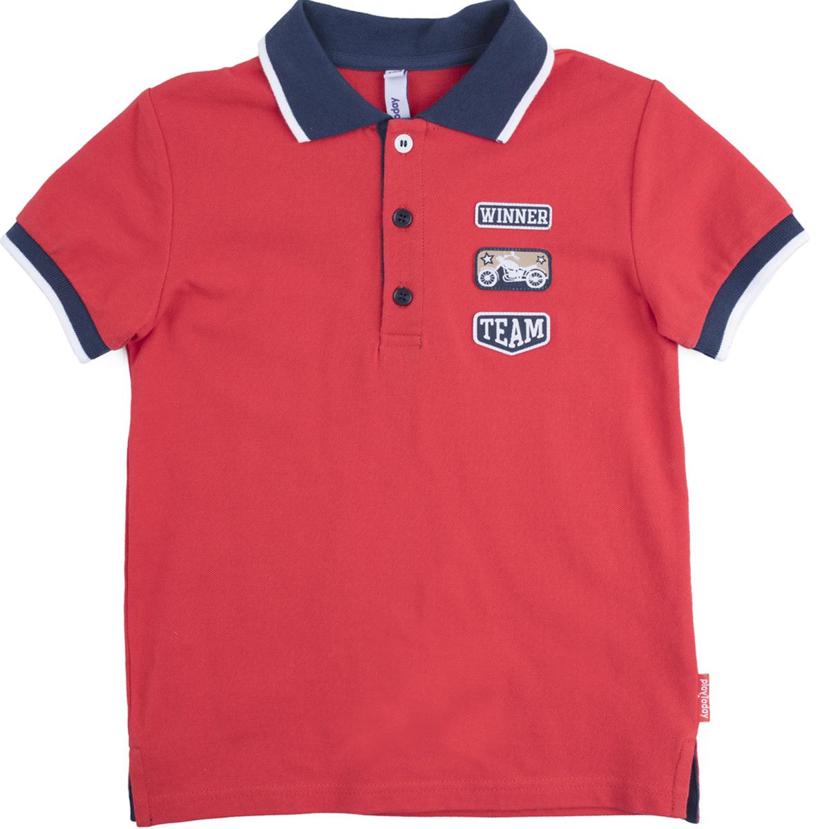 Футболка для мальчика PlayToday, цвет: красный. 181105. Размер 134/140181105Футболка - поло выполнена из натуральной хлопковой ткани. Горловина оформлена отложным воротником. Лекало полностью совпадает с лекалом футболки - поло для взрослого.
