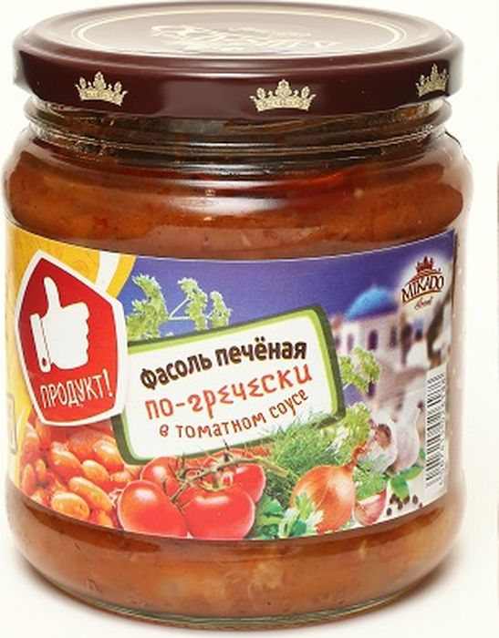 Mikado Фасоль печеная в томатном соусе по-гречески, 450 г gold fish шпроты в томатном соусе 175 г