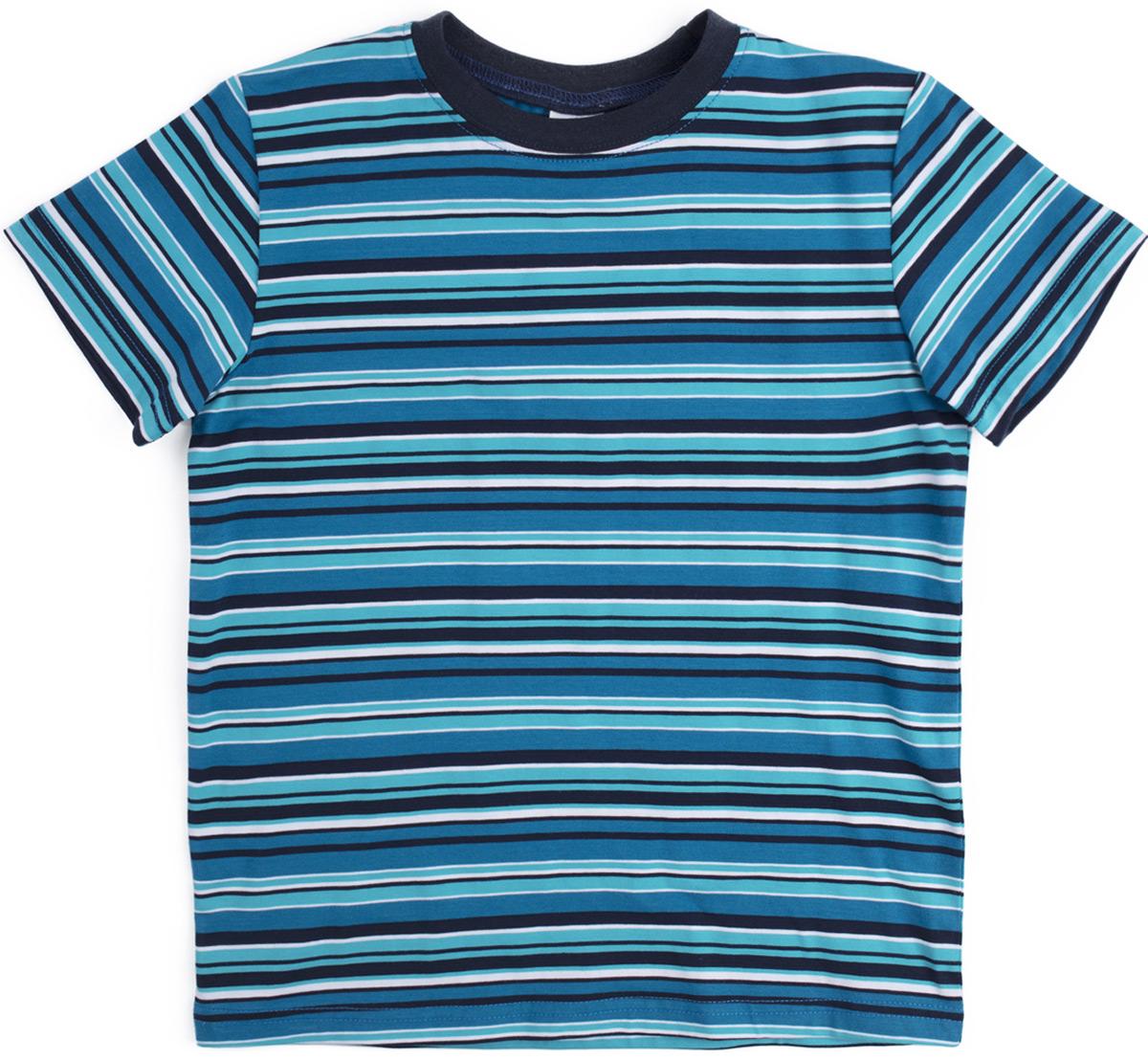 Футболка для мальчика PlayToday, цвет: темно-синий. 181106. Размер 128181106Футболка из натуральной хлопковой ткани. Горловина оформлена мягкой трикотажной резинкой. Модель выполнена по технологии yarn dyed - в процессе производства используются разного цвета нити. Изделие при рекомендуемом уходе не линяет и надолго остается в первоначальном виде.