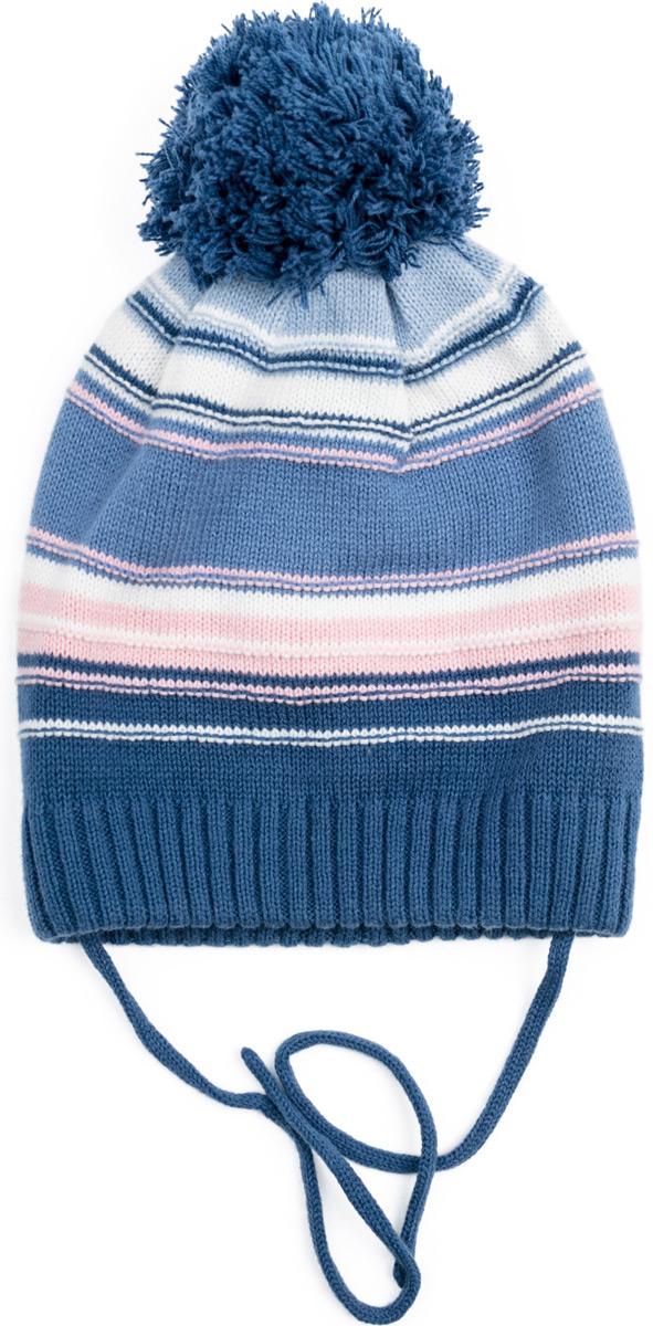 Шапка для девочки PlayToday, цвет: белый, голубой, светло-розовый. 182076. Размер 52182076Двуслойная вязаная шапка из ткани с высоким содержанием натурального хлопка. Модель на завязках, декорирована помпоном. Шапка выполнена по технологии yarn dyed - в процессе производства используются разного цвета нити. Изделие при рекомендуемом уходе не линяет и надолго остается в первоначальном виде. Шапка хорошо облегает голову ребенка.