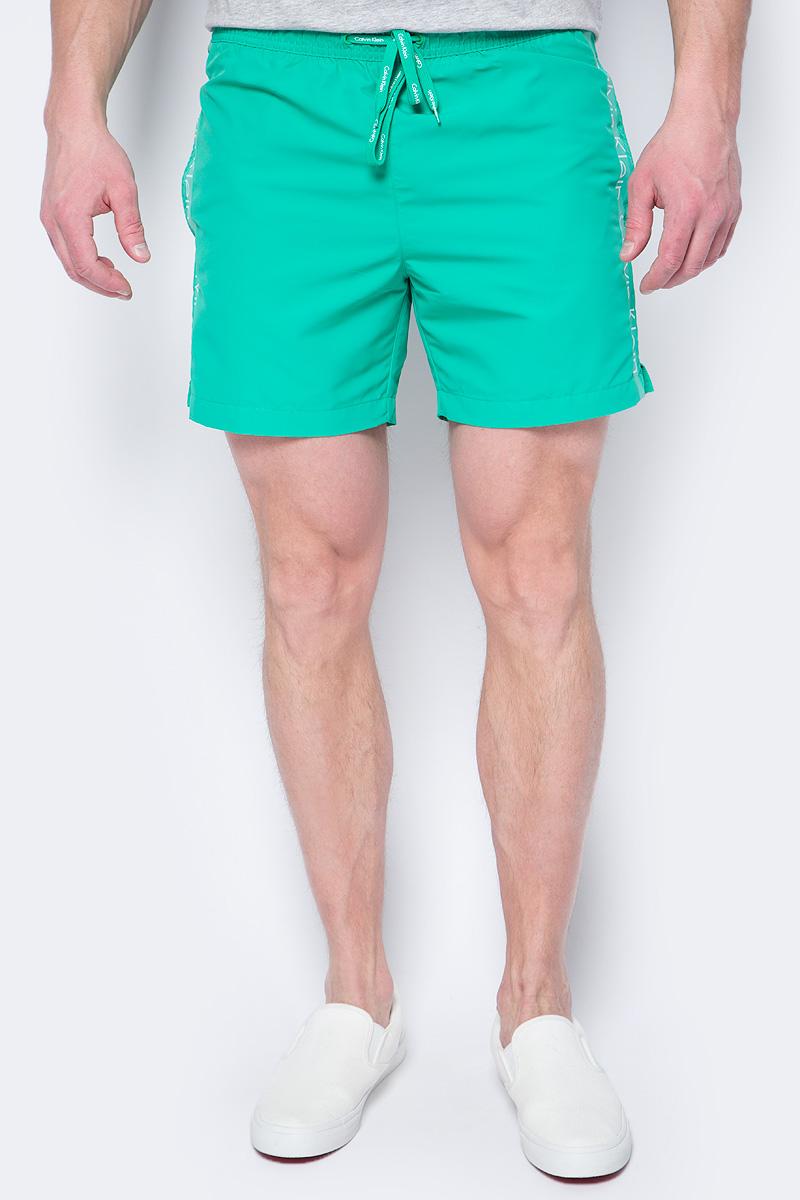 Шорты купальные мужские Calvin Klein Underwear, цвет: зеленый. KM0KM00169. Размер S (46) calvin klein k1s211 20