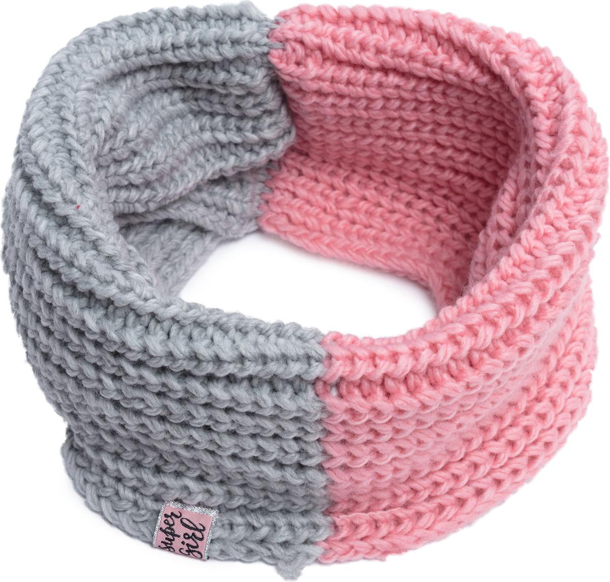 Шарф для девочки PlayToday, цвет: светло-розовый, светло-серый. 182028. Размер универсальный182028Шарф - снуд крупной вязки. Модель двуцветная.