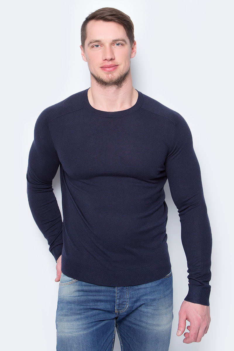 Пуловер мужской United Colors of Benetton, цвет: темно-синий. 10VRU1F12_06U. Размер XXL (54/56)10VRU1F12_06U