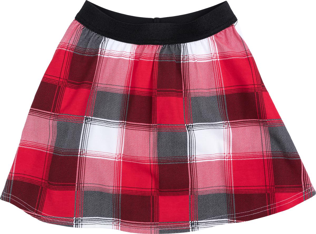 Юбка для девочки PlayToday, цвет: красный, черный, белый. 182011. Размер 104182011Юбка выполнена из натуральной ткани с набивным рисунком. Пояс на широкой резинке с люрексной нитью.