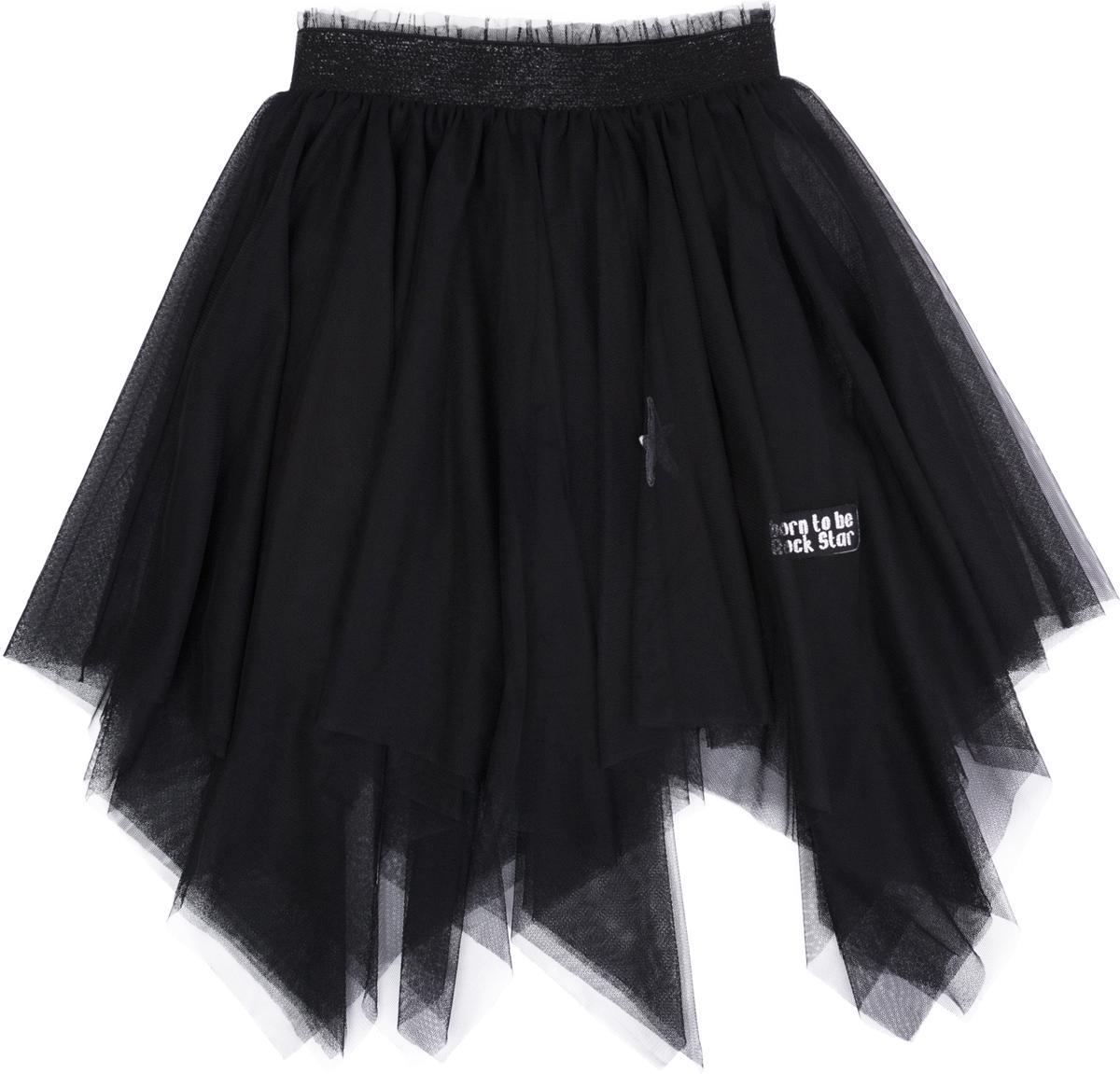 Юбка для девочки PlayToday, цвет: черный. 182012. Размер 110182012Пышная многослойная юбка. Нижяя - из натурального хлопка. Верхняя - из легкой сетчатой ткани. В качестве декора использованы аппликации. Пояс на широкой резинке с люрексом.
