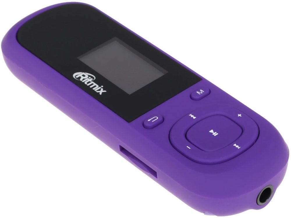 Ritmix RF-3360 4Gb, Violet MP3-плеер15114960Ritmix RF-3360 - компактный mp3-плеер с однодюймовым ЖК-дисплеем, на который можно выводить тексты и слова песен. Устройство оснащено встроенным FM-трансмиттером, что позволяет использовать его для передачи звука на автомобильную (или любую другую) стереосистему по беспроводному радио-соединению. Особенностью конструкции RF-3360 является выдвижной USB-коннектор - для подключения плеера к компьютеру не нужен провод.