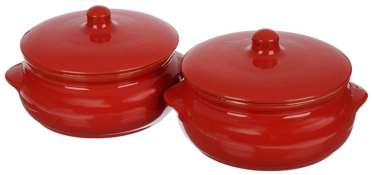 Набор горшочков для запекания Борисовская керамика Красный, 500 мл, 2 шт горшочек для запекания terracotta дерево жизни 500 мл