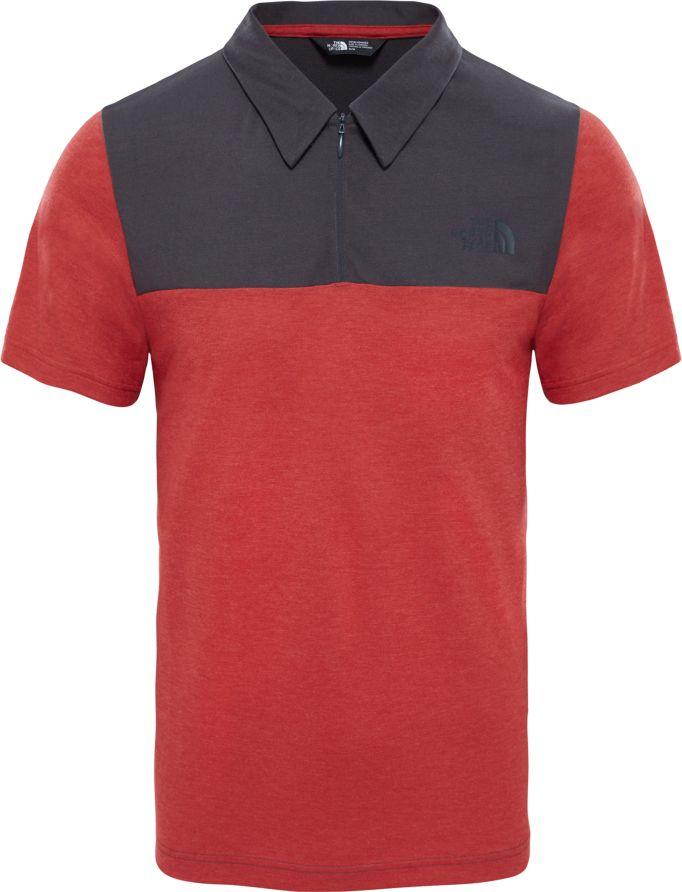 Поло мужское The North Face M S/S Technical Polo, цвет: красный, серый. T0CED31WG. Размер M (50)T0CED31WGСтильное, плотное переплетение разных по цвету нитей в классическом поло. Классический крой с современными элементами, вроде 1/4 молнии. Идеальный выбор для летних прилючений в городе.