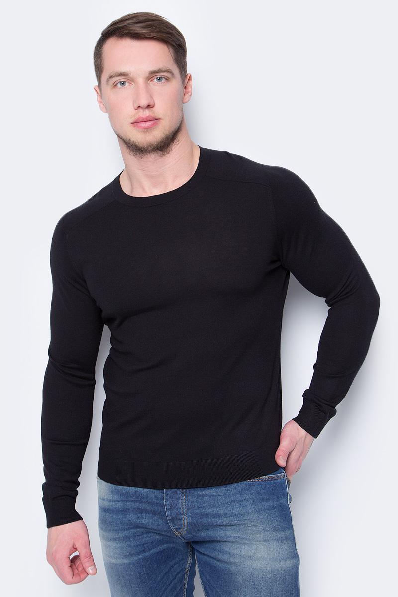 Пуловер мужской United Colors of Benetton, цвет: черный. 10VRU1F12_100. Размер XS (44/46)10VRU1F12_100