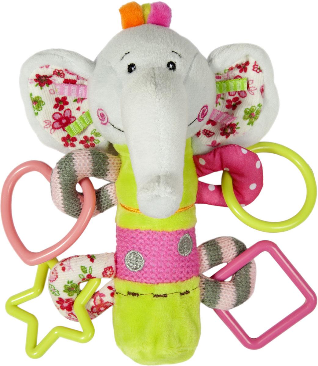 Развивающая игрушка-погремушка Жирафики Слоник, с пищалкой жирафики развивающая игрушка пищалка динозаврик 93920