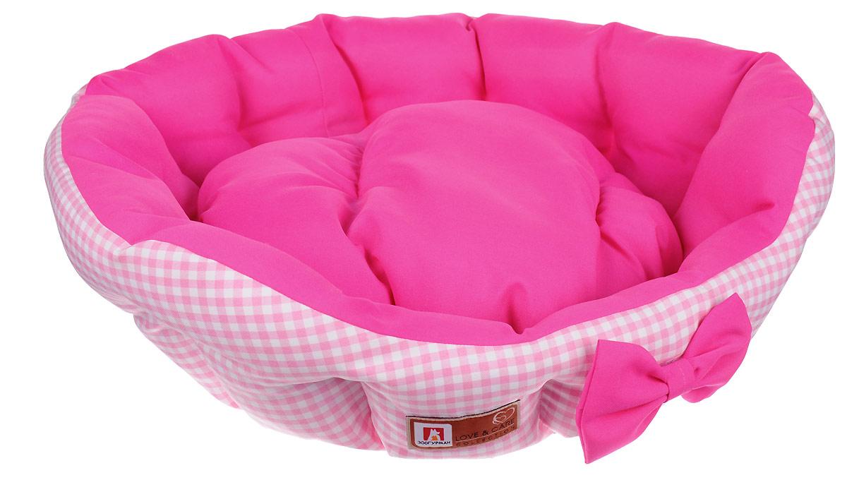 Лежак для собак и кошек Зоогурман Каприз, цвет: розовый, бледно-розовый, диаметр 45 см зоогурман консервы для собак зоогурман спецмяс деликатес желудочки куриные 250 г