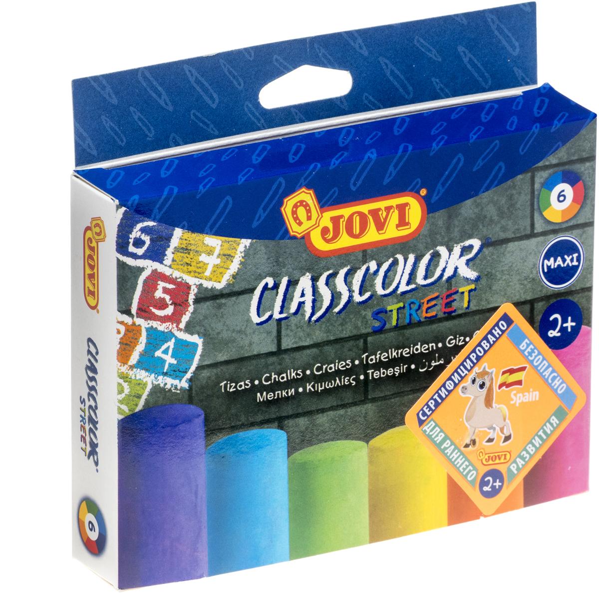 Jovi Мел круглый большой 6 цветов набор crayola мел для асфальта 5шт 03 5801c