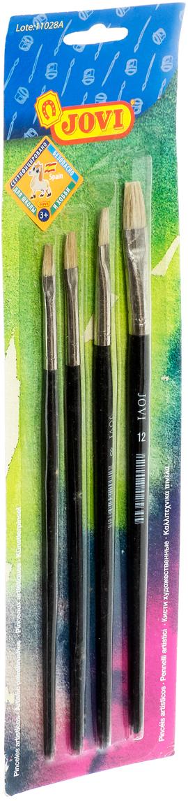 Jovi Кисти щетина 4 шт размеры 4, 6, 8, 12 принадлежности для рисования jovi набор кистей щетина размеры 4 6 8 12 4 шт