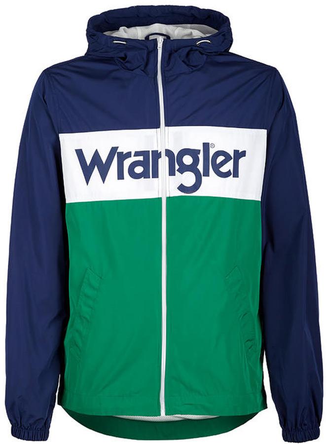 Куртка мужская Wrangler, цвет: синий, белый, зеленый. W4707V9JY. Размер M (48)W4707V9JYКуртка от Wrangler выполнена из высококачественного полиэстера. Модель с длинными рукавами и капюшоном застегивается на молнию. По бокам куртка дополнена втачными карманами.