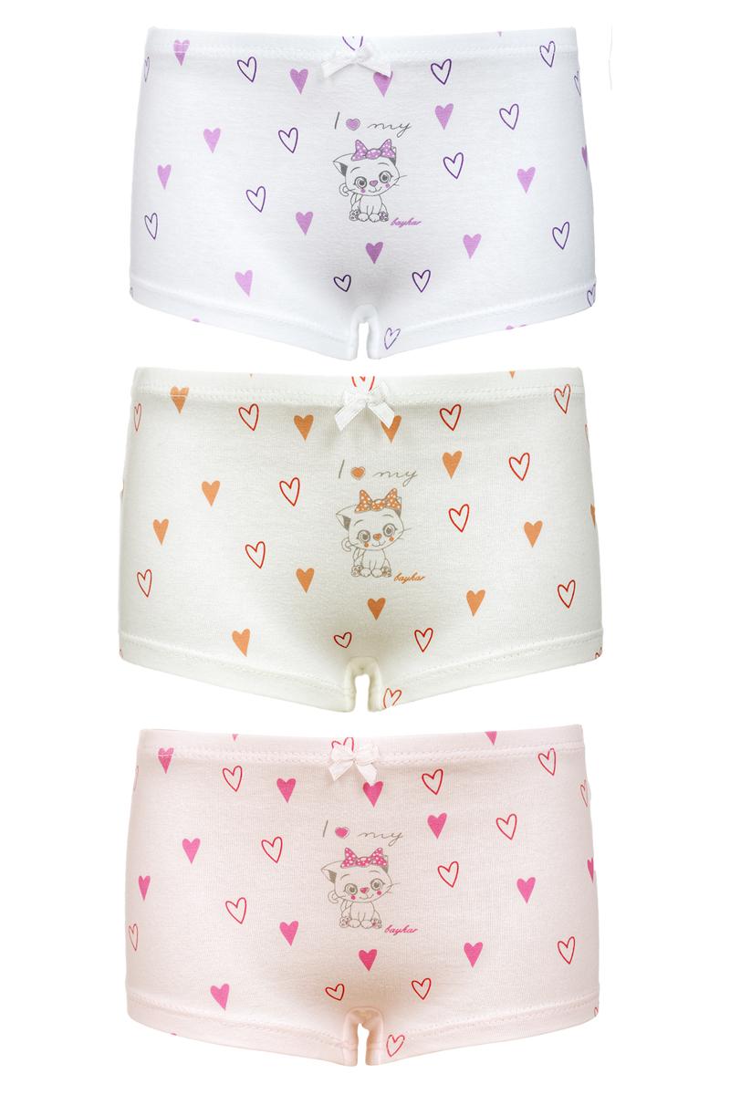 Трусы-шорты для девочки Baykar, цвет: мультиколор, 3 шт. N5680_22. Размер 146/152 baykar baykar майка для мальчика серая