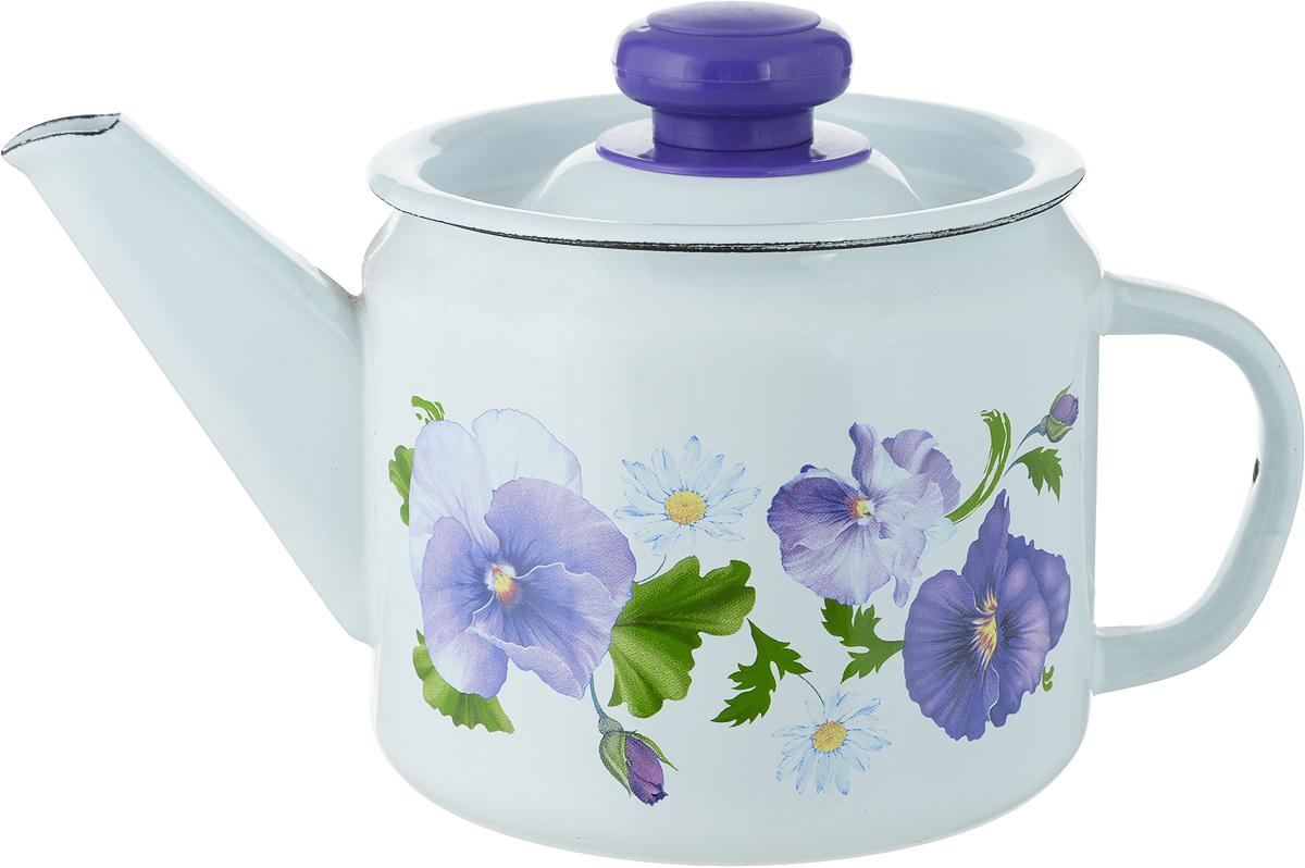 Чайник Лысьвенские эмали Фиалки, 1 л чайники для плиты лысьвенские эмали чайник 1 0 л заварочный рис лысьвенские эмали