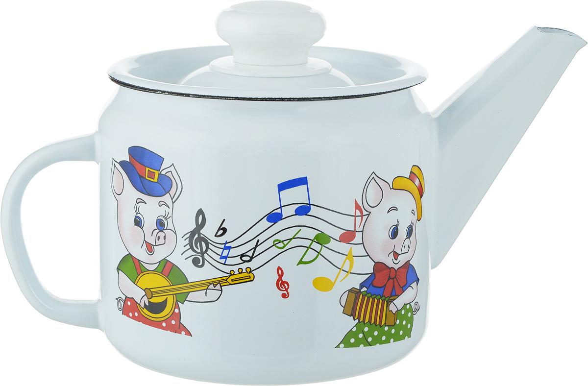 Чайник Лысьвенские эмали Поросята, 1 л чайники для плиты лысьвенские эмали чайник 1 0 л заварочный рис лысьвенские эмали