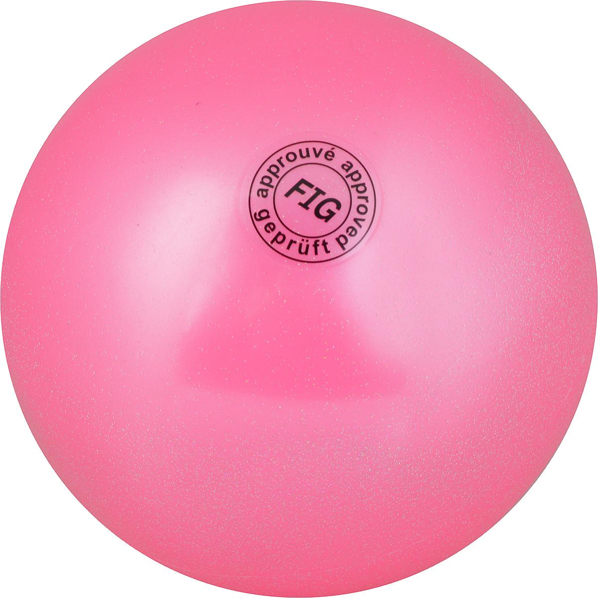 Мяч для художественной гимнастики, цвет: розовый металлик. Диаметр 19 см. AB2801
