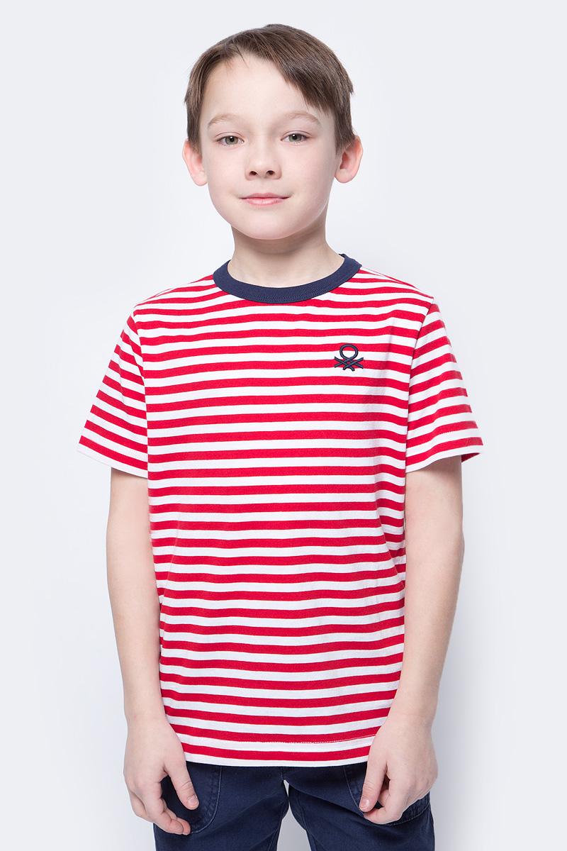 Футболка для мальчика United Colors of Benetton, цвет: красный, белый. 3XB1C13H8_607. Размер 1003XB1C13H8_607Футболка от United Colors of Benetton выполнена из натурального хлопкового трикотажа в полоску. Модель с короткими рукавами и круглым вырезом горловины.