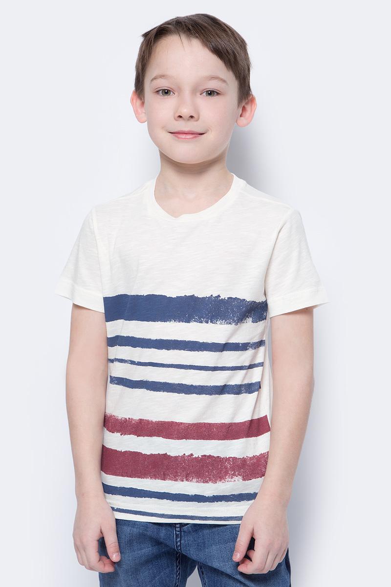 Футболка для мальчиков United Colors of Benetton, цвет: белый, синий, красный. 3Z01C13I2_901. Размер 1303Z01C13I2_901