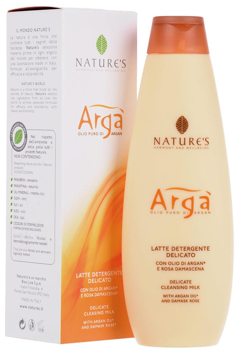Молочко очищающее Natures Arga, деликатное, 200 мл60150101Очищающее молочко Natures Arga для ежедневного ухода за кожей лица, шеи, области декольте и глаз содержит аргановое масло, богатое ненасыщенными жирными кислотами и антиоксидантными веществами. Питает, увлажняет, замедляет процесс преждевременного старения кожи, потери упругости и эластичности. Гарантирует мягкость и отсутствие стянутости кожи, обладает тонизирующими свойствами. Идеально подходит для снятия макияжа. Особенно рекомендуется для обезвоженной кожи.Способ применения: нанести легкими массажными движениями пальцев рук или с помощью мягкого спонжа на предварительно очищенную кожу лица. Затем смыть теплой водой. Характеристики:Объем: 200 мл. Производитель: Италия. Артикул:60150101. Товар сертифицирован.