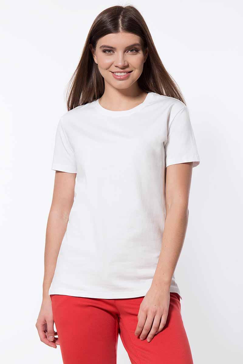 Футболка женская Finn Flare, цвет: белый. B18-11095_201. Размер S (44)B18-11095_201