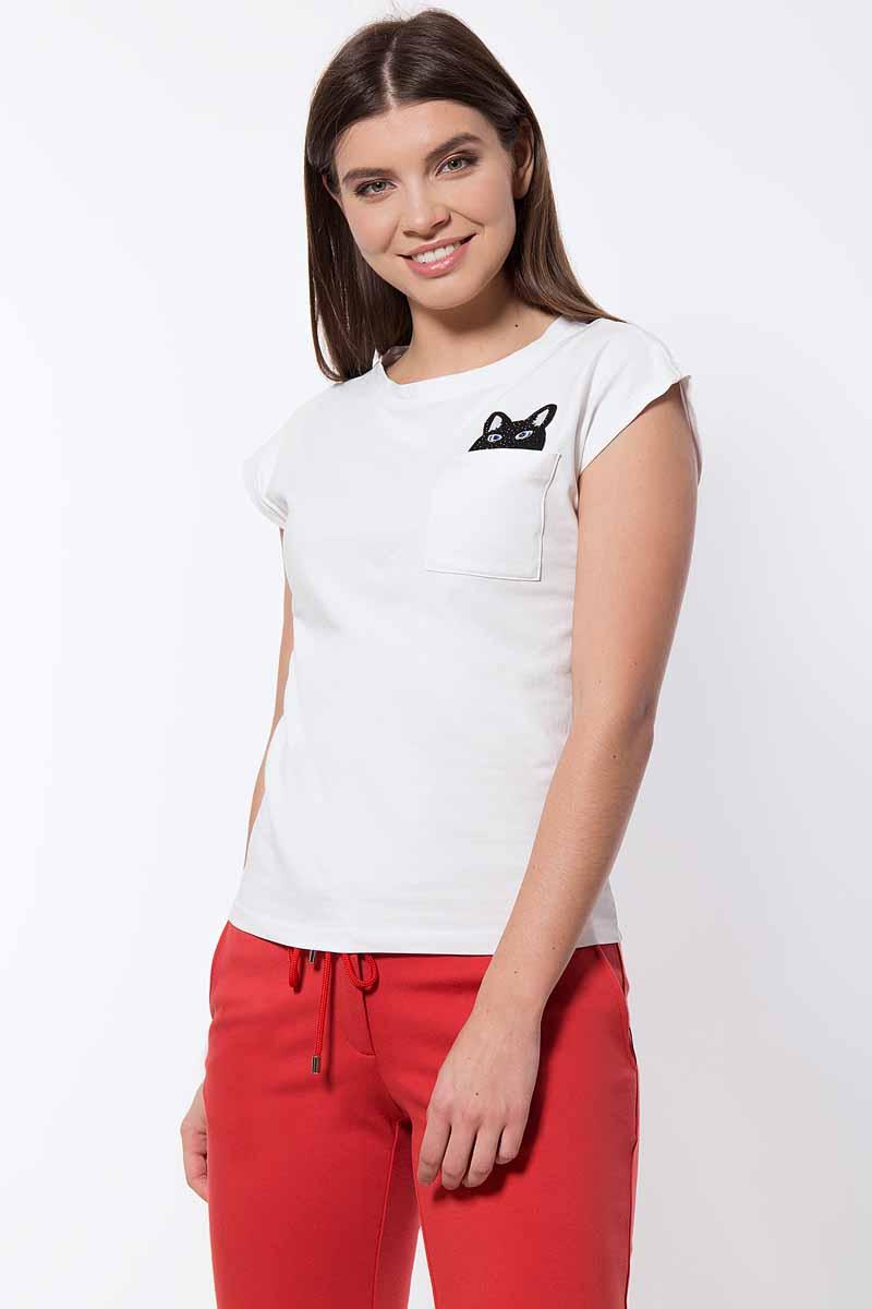 Футболка женская Finn Flare, цвет: белый. B18-32051_201. Размер XL (50)B18-32051_201