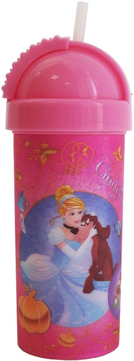 Disney Фляга детская Принцессы с крышкой и трубочкой 400 мл