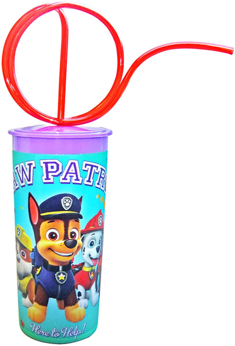 Щенячий патруль Стакан детский с крышкой и витой трубочкой 330 мл мелки щенячий патруль 6 цветов 34017