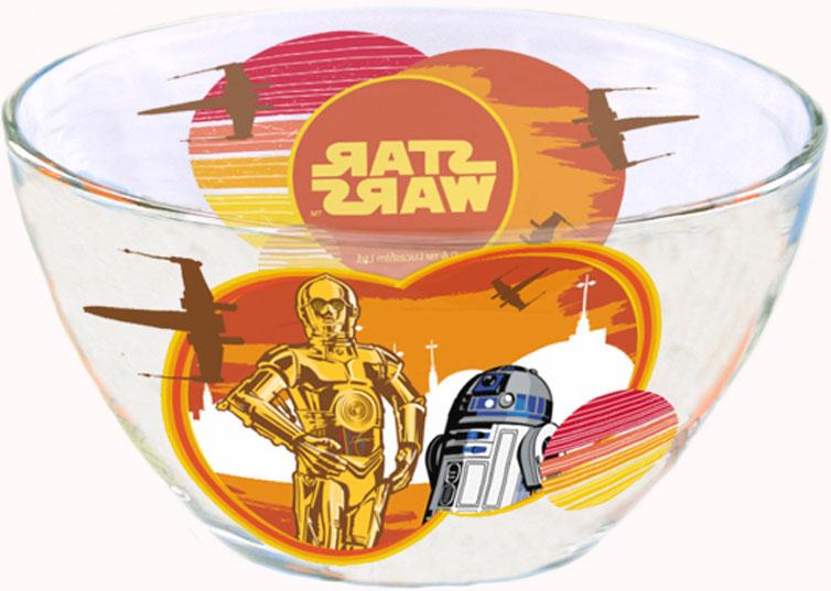 """Салатник с изображением героя из мультсериала """"Звездные войны"""" - отличный подарок для вашего ребенка! Стеклянный салатник подходит для холодных и горячих напитков, а также пригоден для мытья в посудомоечной машине. Не рекомендуется подвергать изделие длительному воздействию прямых солнечных лучей."""