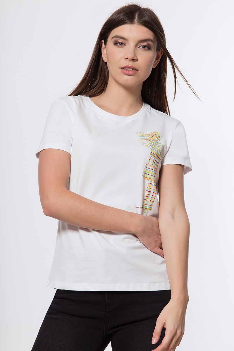 Футболка женская Finn Flare, цвет: белый. B18-32058_201. Размер XL (50)B18-32058_201