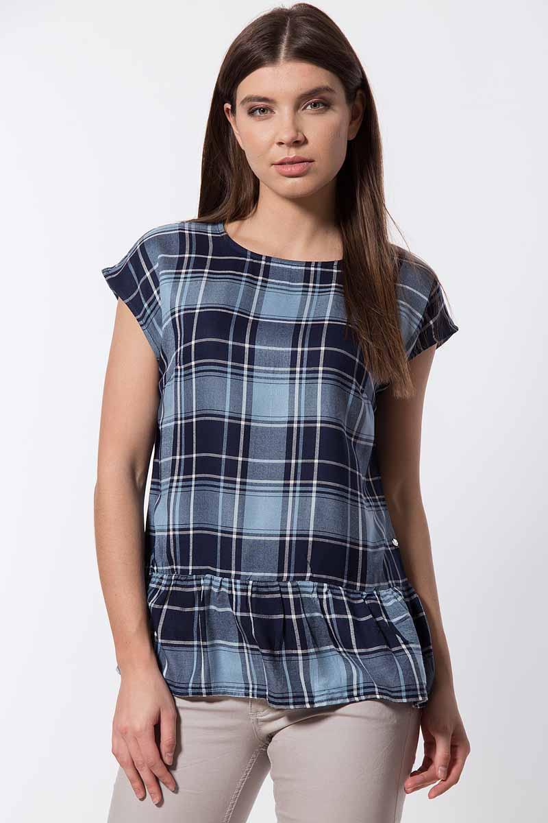 Блузка женская Finn Flare, цвет: темно-синий. B18-32070_101. Размер L (48) футболка женская finn flare цвет белый b18 11085 201 размер l 48