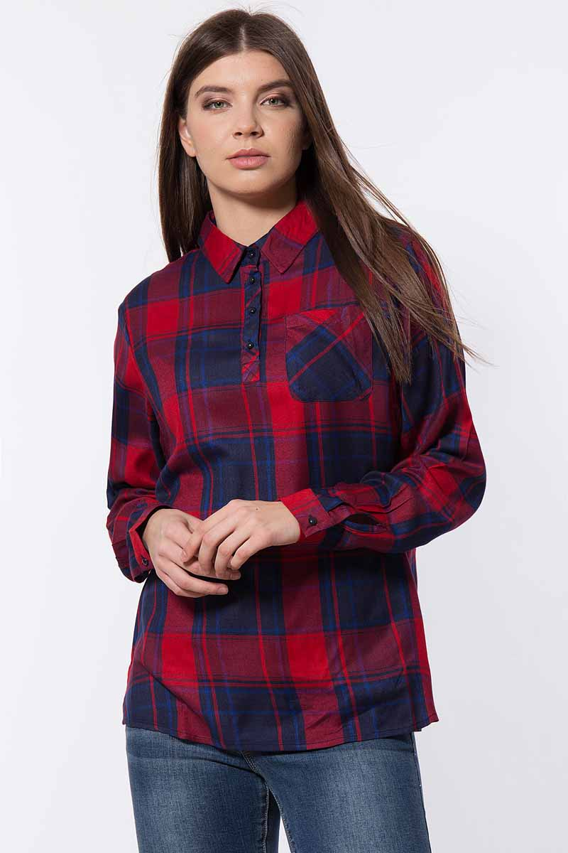 Блузка женская Finn Flare, цвет: красный. B18-32071_317. Размер M (46)B18-32071_317