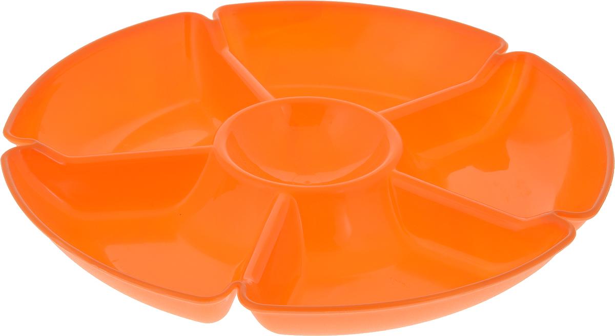 Менажница Gotoff, 6 секций, цвет: оранжевый, диаметр 28 смWTC-280_оранжевый