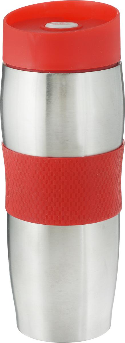 Термокружка Mayer & Boch, цвет: красный, 360 мл. 2710927109_красныйТермокружка Mayer & Boch изготовлена из нержавеющей стали, не содержащей токсичных веществ. Двойные стенки дольше сохраняют напиток горячим и не обжигают руки. Надежная крышка с защитой от проливания обеспечит дополнительную безопасность. Крышка оснащена клапаном для питья. Основание имеет силиконовую вставку для предотвращения скольжения по поверхности. Оптимальный объем термокружки позволит взять с собой большую порцию горячего кофе или чая. Идеально подходит как для горячих, так и для холодных напитков. Такая кружка может быть использована во время отдыха, на работе, в путешествии, во время поездок в автомобиле.