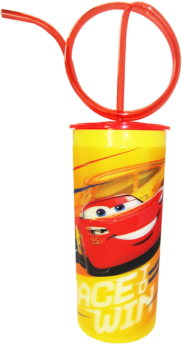 Disney Стакан детский Тачки 3 с крышкой и витой трубочкой 330 мл disney гирлянда детская на ленте тачки с днем рождения