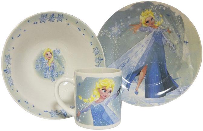 Disney Набор детской посуды Холодное сердце Эльза 3 предмета в подарочной упаковке