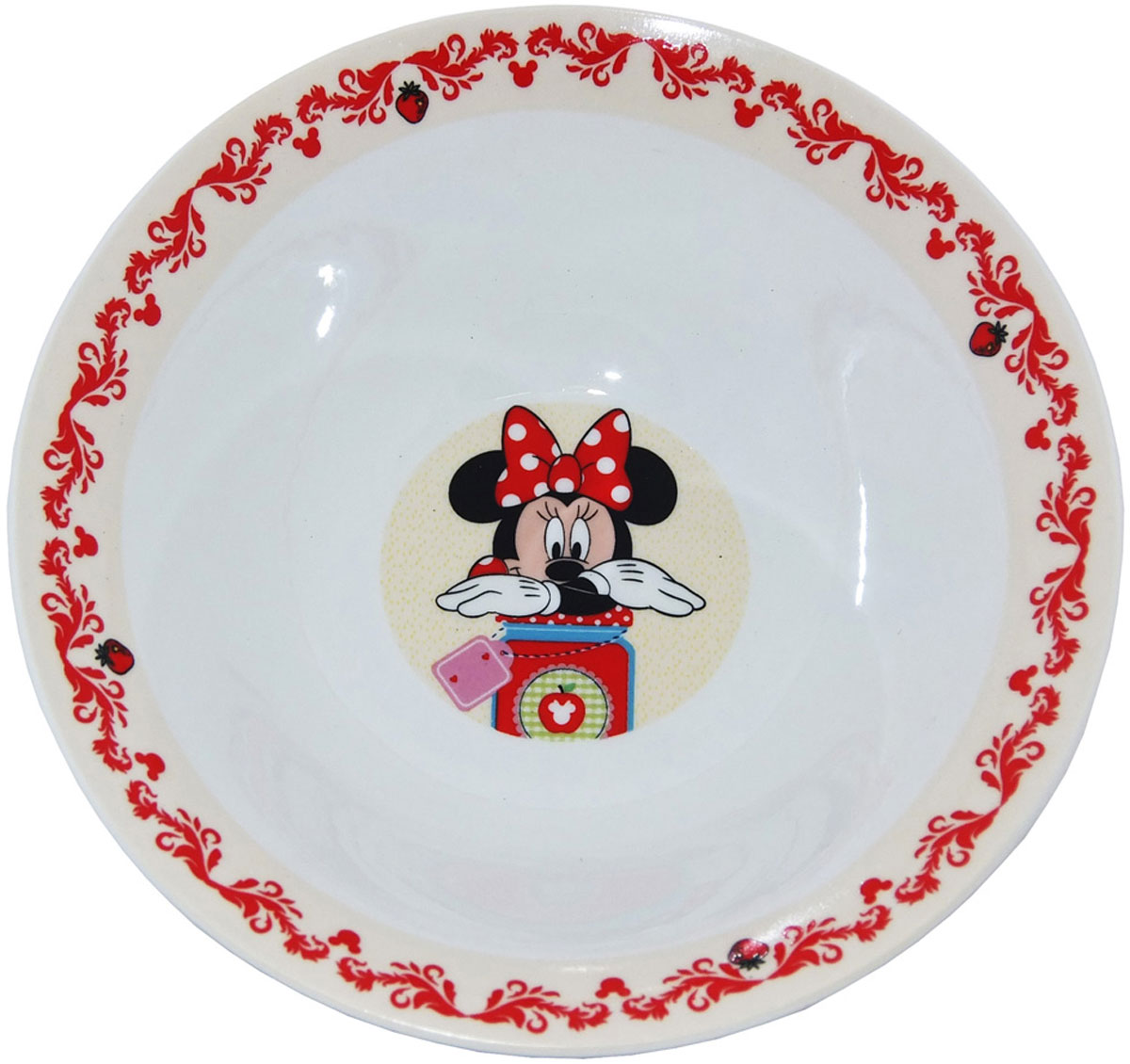Яркая миска «Минни» идеально подойдет для кормления малыша и самостоятельного приема им пищи. Миска выполнена из керамики, дно оформлено изображением Минни  из мультфильмов Disney. Миска, оформленная веселой картинкой из мультфильмов Disney понравятся и малышу, и родителям!