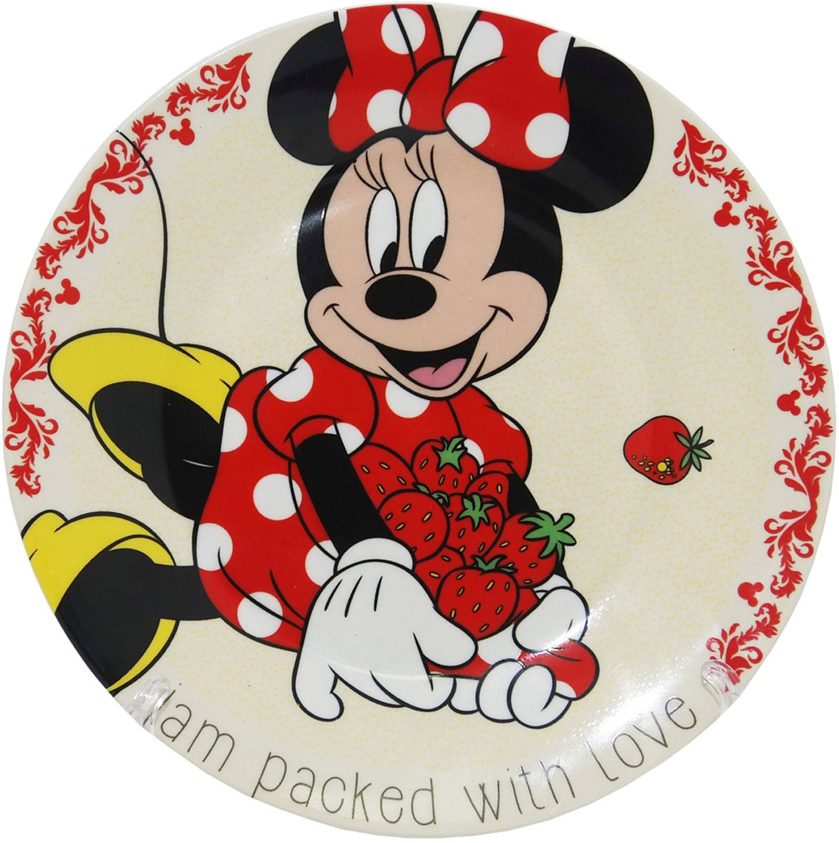 Яркая тарелка «Минни» идеально подойдет для кормления малыша и самостоятельного приема им пищи. Тарелка выполнена из керамики, дно оформлено изображением Минни  из мультфильмов Disney. Тарелка, оформленная веселой картинкой из мультфильмов Disney  понравятся и малышу, и родителям!