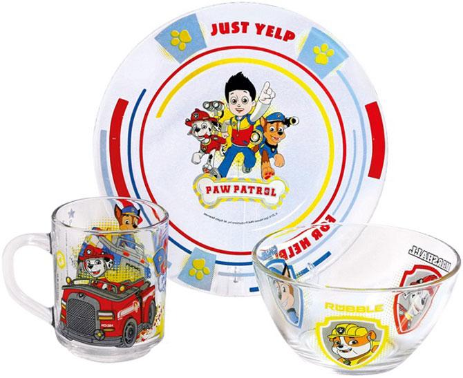 """Красивый набор """"Щенячий патруль"""" выполнен из качественного стекла и и будет приятным украшениям стола для вашего ребенка. Яркий красочный дизайн привлечет внимание малыша и сделает прием пищи веселым занятием. Подходит для ежедневного использования.  В комплект входят: тарелка, салатница, кружка."""