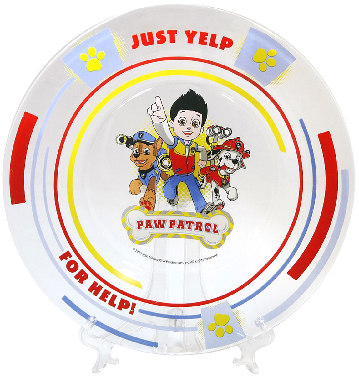 """Тарелка детская """"Щенячий патруль"""" - отличный подарок для вашего ребенка! Стеклянная тарелка подходит для холодных и горячих напитков, а также пригодна для мытья в посудомоечной машине. Не рекомендуется подвергать изделие длительному воздействию прямых солнечных лучей."""