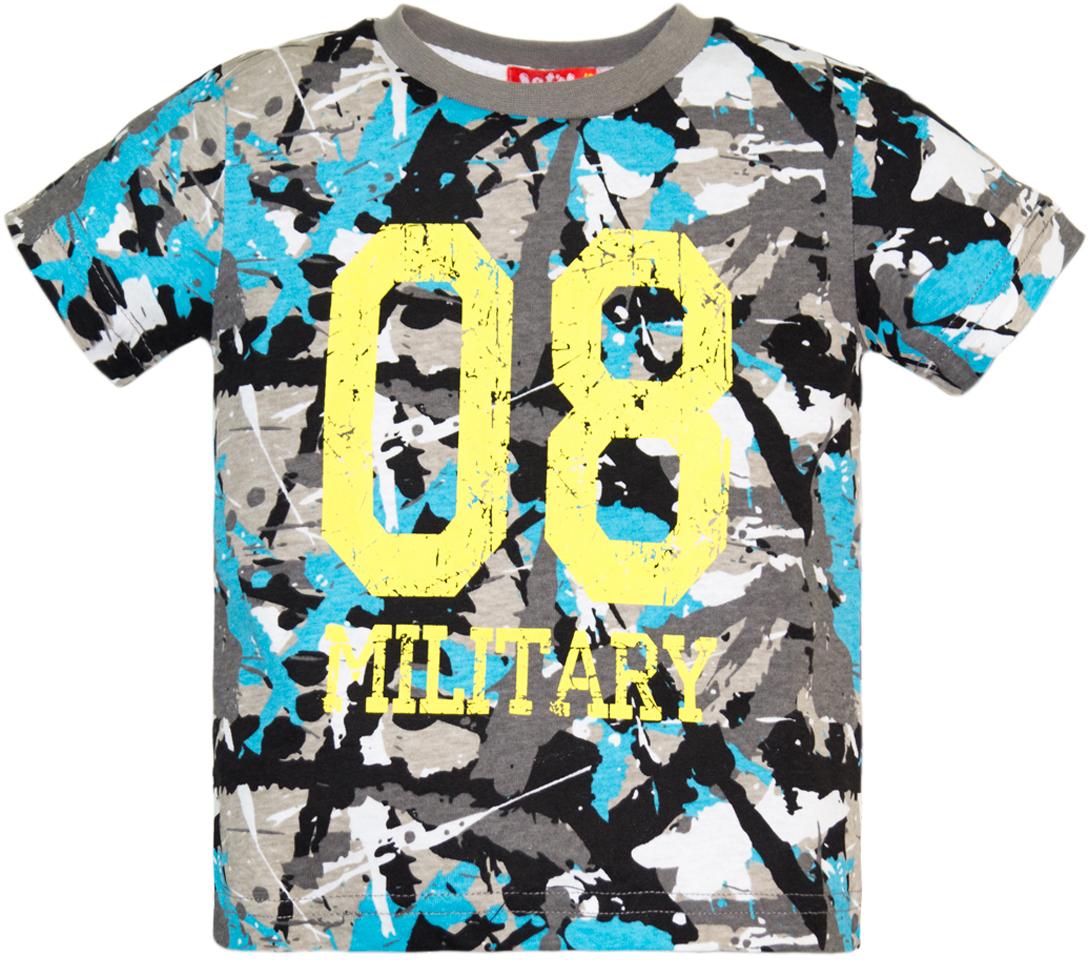 Футболка для мальчика Let's Go, цвет: серый, голубой. 5234. Размер 122 футболка для мальчика acoola carroll цвет зеленый 20120110113 2300 размер 122