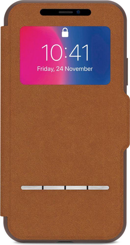 Moshi SenseCover чехол для iPhone X, Caramel Brown чехол книжка moshi sensecover для apple iphone 6 plus 6s plus