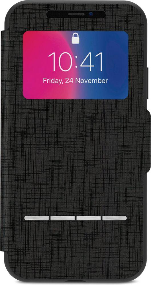 Moshi SenseCover чехол для iPhone X, Metro Black99MO072010Сенсорный чехол Moshi SenseCover - это своеобразно спроектированный защитный чехол-флип, который расширяет функционал и защищает Ваш новый iPhone со всех 360 градусов. Встроенные сенсорные подушечки SenseArray, расположенные на передней части чехла, позволяют отвечать на звонки и говорить по телефону, не открывая чехол. Это идеальное решение для тех, кто ценит практичность в движении. Кроме этого, устойчивое к царапинам окошко позволяет Вам просматривать наиболее важную информацию. SenseCover надежно защищает Ваш iPhone не только от царапин, но и от ударов и падений. Тонкая передняя крышка из мягкого микроволокна позаботится о чистоте Вашего сенсорного экрана. SenseCover имеет удобный складной дизайн для просмотра видео. В SenseCover также имеется магнитная застежка, которая не позволит чехлу открыться в неподходящий момент. Элегантный с виду и очень функциональный SenseCover обеспечит настоящее удовольствие при его эксплуатации.Характеристики Полная защита устройства и сенсорная передняя часть чехла. Защита от ударов по оборонным стандартам США (MIL-STD0810G, сертификат SGS). Удобный складной дизайн для просмотра видео на Вашем iPhone. Магнит, который сохраняет чехол в закрытом состоянии. Сохранен легкий доступ ко всем кнопкам и камере. Лёгкие и долговечные материалы. Поддерживает беспроводную зарядку.