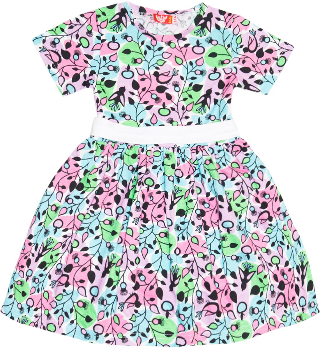 Платье для девочки Lets Go, цвет: бирюзовый, розовый. 8129. Размер 1048129