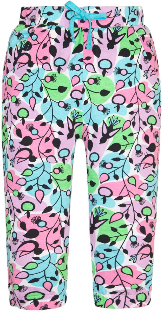 Брюки для девочки Lets Go, цвет: бирюзовый, розовый. 10164. Размер 9810164