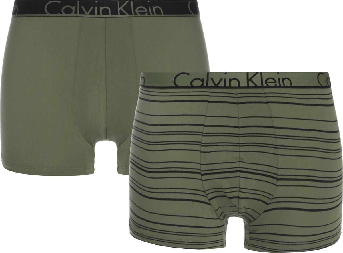 Трусы мужские Calvin Klein Underwear, цвет: зеленый, 2 шт. NU8643A_IYT. Размер M (48) трусы боксеры мужские calvin klein underwear цвет мультиколор 3 шт u2662g mzx размер s 46