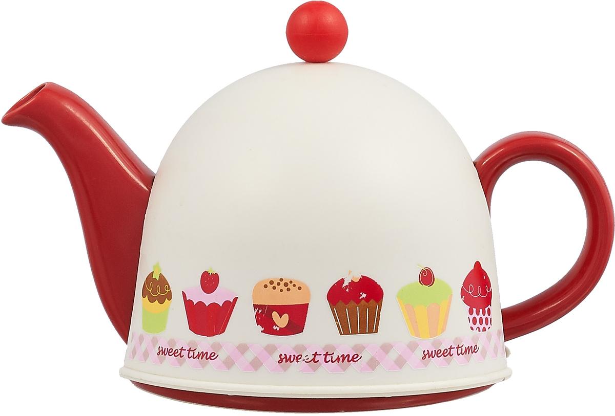 Чайники Домик, чайник 800мл с метал.фильтром, пластик.крышка д/сохранения температуры, упаковка - цвет.бокс