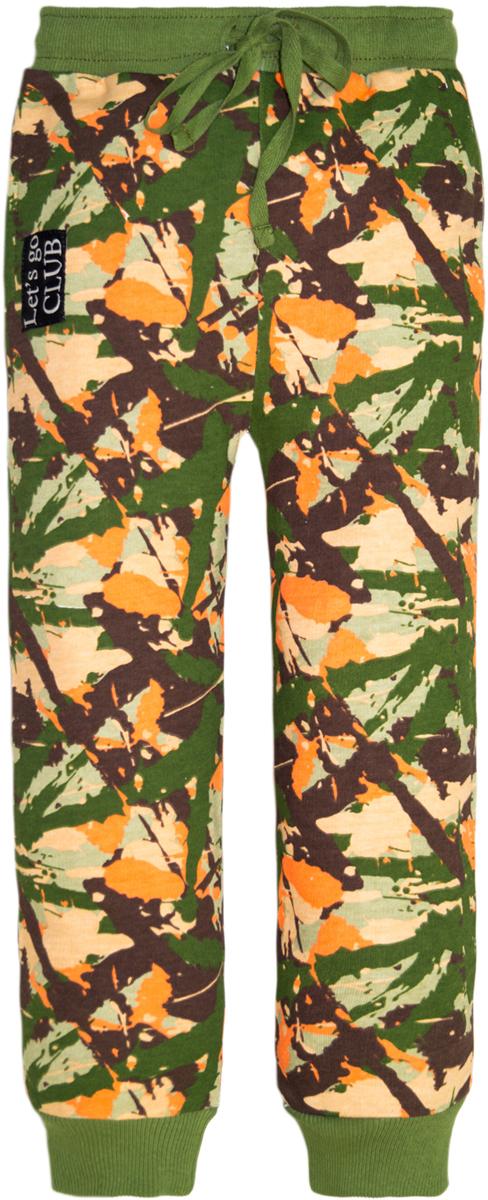 Брюки для мальчика Lets Go, цвет: хаки, оранжевый. 10217. Размер 13410217